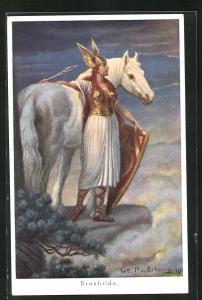 AK Nibelungen, Brunhilde steht mit Speer und Schild neben ihrem Pferd