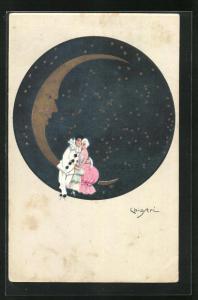 Künstler-AK Carlo Chiostri: Pierrot und Geliebte auf Mondsichel, Mondgesicht
