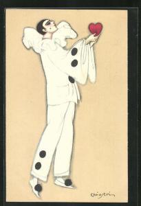Künstler-AK Carlo Chiostri: Pierrot mit Herz