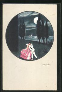 Künstler-AK Carlo Chiostri: Pierrot und Geliebte unter Vollmond