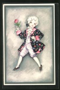 Künstler-AK Hannes Petersen: kleiner Kavalier mit Rose