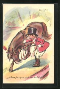 Künstler-AK Germaine Bouret: L`écujère..., Pferdedressur, Zirkus