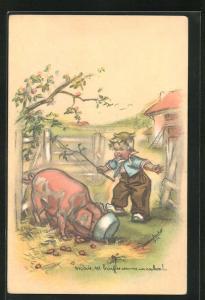 Künstler-AK Germaine Bouret: Mais, tu bouffes comme un cochon!, kleine Schweinehirte
