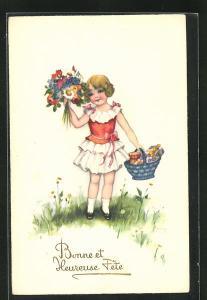 Künstler-AK Hannes Petersen: Bonne et Heureuse Fête, kleine Gratulantin mit Blumen