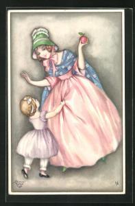 Künstler-AK Hannes Petersen: Maid mit Apfel und Mädchen