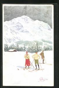 Künstler-AK Carlo Pellegrini: Skiläufer in den Bergen
