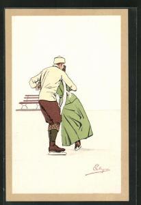 Künstler-AK Carlo Pellegrini: Paar beim Schlittschuhlaufen
