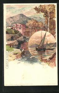 Künstler-AK Manuel Wielandt: Rapallo, Ortsansicht, Segelschiff