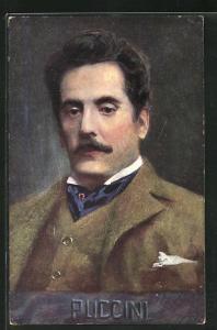 AK Portrait des Musiker's Puccini