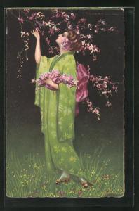 Künstler-AK Tito Corbella: junge Frau pflügt Blüten