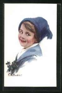 Künstler-AK Court Barber: Kind in blauem Mantel mit blauer Mütze und Ilexzweig