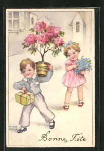 Künstler-AK Hannes Petersen: Junge und Mädchen mit Geschenk und Blumen, Bonne Fete