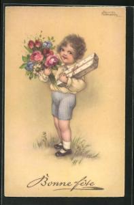 Künstler-AK Hannes Petersen: Junge in kurzen Hosen mit Blumen und Geschenk