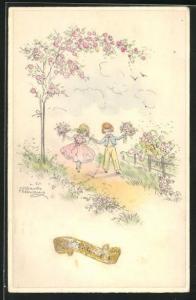 Künstler-AK Hannes Petersen: Mädchen und Junge in Festkleidung mit Blumen auf Weg