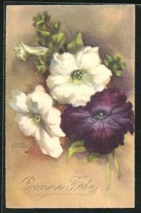 Künstler-AK Hannes Petersen: weisse und eine dunkel violette Blume, Bonne Fete