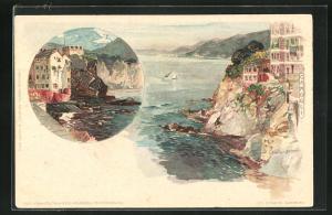 Künstler-AK Manuel Wielandt: Camogli, felsige Uferpartie