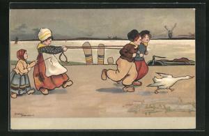 Künstler-AK Ethel Parkinson: Knaben und Mädchen in Tracht beim Spielen