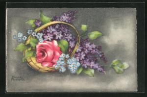 Künstler-AK Hannes Petersen: Blumenkorb mit einer Rose