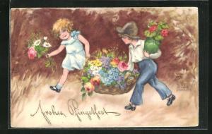 Künstler-AK Hannes Petersen: Junge und Mädchen mit einem Blumenkorb, Pfingsgruss