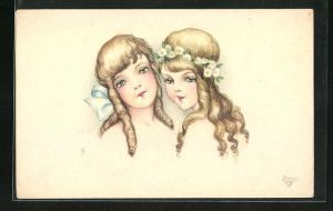 Künstler-AK Hannes Petersen: Zwei Mädchen mit Locken