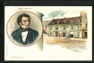 AK Portrait Franz Schubert, Ortsansicht