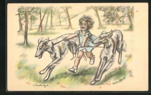 Künstler-AK Germaine Bouret: Mädchen mit Windhunde