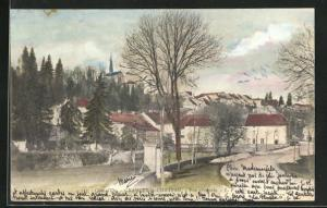 AK Grancey-le-Chateau, Strassenpartie am Ortseingang