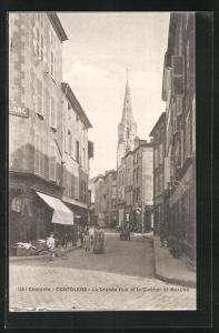 AK Confolens, La Grande Rue et le Clocher St-Maxime