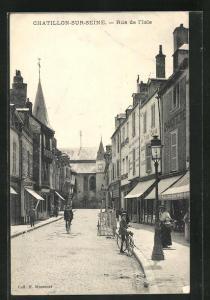 AK Chatillon-sur-Seine, Rue de l`Isle, Strassenpartie