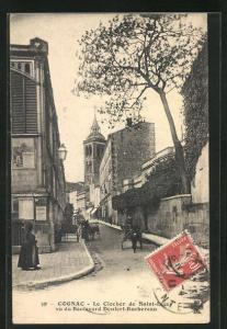 AK Cognac, Le Clocher de Saint-Léger vu du Boulevard Denfert-Rochereau