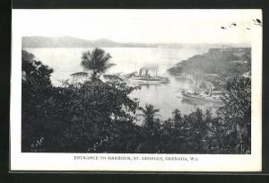 AK St. Georges, Entrance to Harbour, Blick auf Dampfer