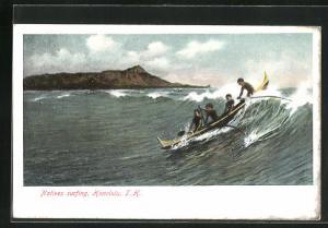 AK Honolulu, HI, Natives surfing, Boot auf Wellenkamm