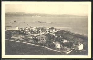 AK Durazzo, Totalansicht über Häuser mit Blick aufs Meer aus der Vogelschau