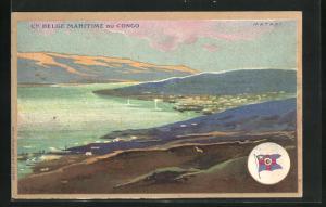 Künstler-AK Matadi, Blick über Landschaft und Meer, Fahne