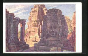 Künstler-AK Angkor Thom, Bayon, Blick auf Tempelanlage