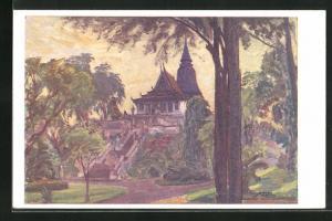 Künstler-AK Pnom Penh, Le Pnom, Nam-Vang, Noc Chua