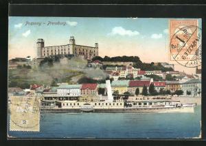 AK Pozsony / Pressburg, Dampfer Schönbrunn, Panorama