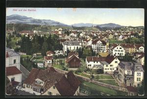 AK Rüti, Ortsansicht über Bachtel, Häuser und Landschaft