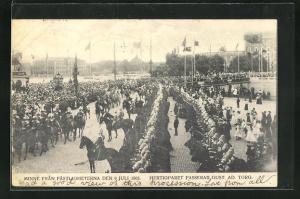 AK Stockholm, Minne Fran Fästligheterna den 9 Juli 1905, Hertigparet passerar Gust. Ad. Torg