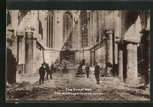 AK Vise, the destroyed Church, im Krieg bschädigte Kirche