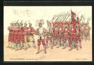 Lithographie Vevey, Fête des Vignerons, Anciens Suisses, histor. Uniformen