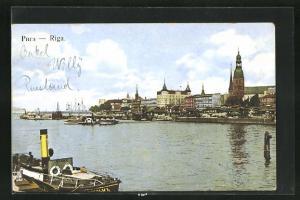 AK Riga, Teilansicht mit Kirche
