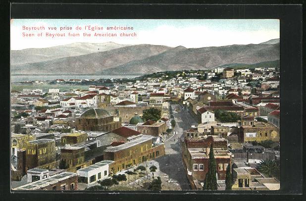 AK Beyrouth, vue prise de l'Eglise americaine 0