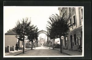 AK Oberndorf, Strassenpartie an der Grenzbrücke
