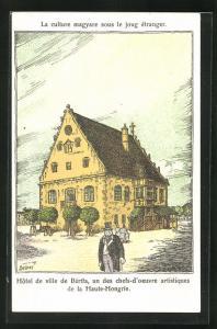 Künstler-AK Bartfa, Hôtel de ville..., Rathaus