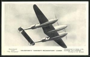 AK Flugzeug The Lockheed Lightning I., British Long-Range Fighter in the air