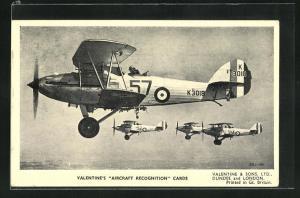AK Flugzeug Hawker Hinds im Einsatz über den Wolken