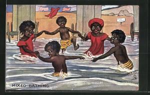 AK Afrikanische Mädchen und Jungen baden gemeinsam am Strand, afrikanische Volkstypen