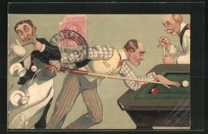 Präge-AK Mann stösst beim Billard das Tablett eines Kellners um