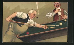 Präge-AK Mann reisst beim Billard die Oberfläche des Spieltisches auf
